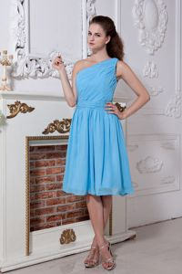 Aqua Blue One Shoulder Knee-length Prom Dress for Formal with Ruches