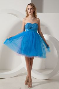 Sweetheart Mini-length Blue Prom Gown Dress with Beading in Norfolk