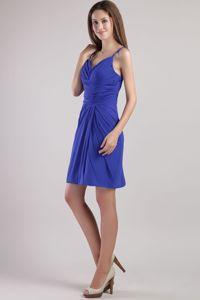 Royal Blue Straps Sheath Mini-length Prom Dress with Ruches in Eltopia