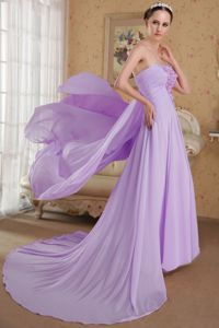 Lavender Beaded Strapless Dress for Prom with Brush Train in Higganum