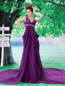 Chiffon Purple Beaded V-neck Prom Dress with Watteau Train in Douglas