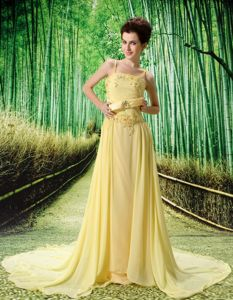 Yellow Spaghetti Straps Empire Prom Dresses with Court Train in Duluth