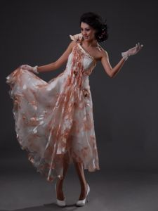 Multi-color One Shoulder Tea-length Prom Attire with Beading and Pattern
