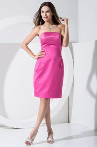 Best Strapless Knee-length Sheath Prom Gowns in Hot Pink in Eastman