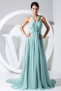 Turquoise V-neck Watteau Train Prom Gowns with Ruches in Lexington