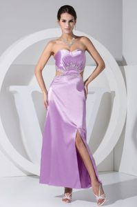 Lilac Sweetheart Ankle-length Prom Dresses with Slit and Cutout Waist