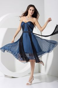 Pleated Sweetheart Navy Blue Formal Prom Dress with Bowknot in Keei