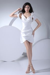 Attractive White V-neck Short Prom Gown with Sash and Ruches in Crete
