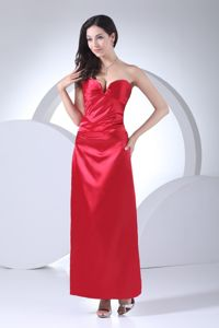 Red Sweetheart Ankle-length Prom Gown Dress with Ruching in Danville