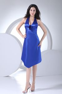Hot Sale Satin Blue Halter Top Knee-length Prom Dresses with Flowers