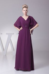 Latest Ruched and Beaded V-neck Floor-length Prom Attire in Dark Purple