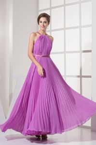 Pleated Halter Top Empire Floor-length Prom Dresses in Lilac in Hebron