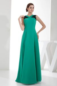 Turquoise V-neck Prom Gown Dress in Floor-length with Ruching in Joliet