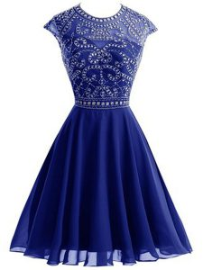 Dazzling Scoop Chiffon Sleeveless Mini Length Prom Dresses and Beading