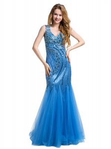 Mermaid Floor Length Zipper Prom Gown Baby Blue for Prom and Party with Beading and Appliques