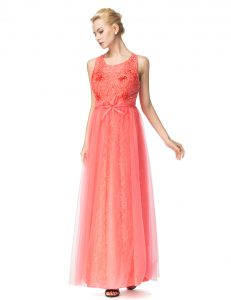 Low Price Watermelon Red Scoop Zipper Beading and Bowknot Prom Dresses Sleeveless