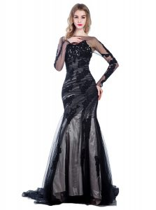 Mermaid Black Zipper Dress for Prom Lace Long Sleeves With Train Court Train
