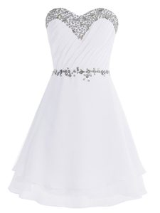 White Sleeveless Chiffon Zipper Prom Evening Gown for Prom and Party