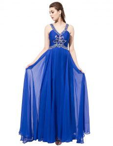 Trendy With Train Criss Cross Prom Evening Gown Royal Blue for Prom and Party with Beading Sweep Train