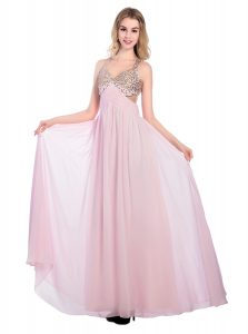 Glittering Lilac Tulle Criss Cross Homecoming Dress Sleeveless Floor Length Beading and Bowknot