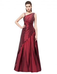 Asymmetric Sleeveless Side Zipper Prom Dresses Burgundy Elastic Woven Satin