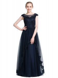 Comfortable Beading Dress for Prom Black Zipper Sleeveless Floor Length