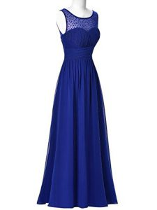 Glorious Scoop Royal Blue Sleeveless Beading Floor Length Homecoming Dress