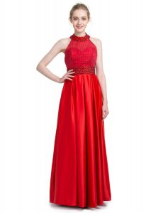 Excellent Floor Length Red Prom Party Dress Halter Top Sleeveless Zipper