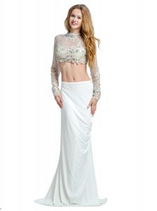White Chiffon Backless Prom Evening Gown Long Sleeves With Brush Train Beading and Lace and Appliques