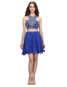 Flirting Royal Blue Dress Like A Star Prom and Party with Beading Scoop Sleeveless Criss Cross