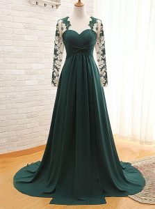 Teal Empire Lace Prom Gown Zipper Satin Long Sleeves With Train