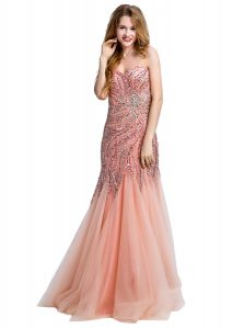 Fashion Mermaid One Shoulder Sleeveless Side Zipper Peach Tulle