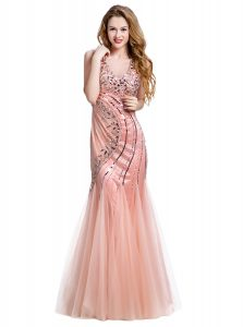 Stunning Mermaid Peach Tulle Lace Up Dress for Prom Sleeveless Floor Length Beading