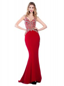 Mermaid V-neck Sleeveless Brush Train Backless Homecoming Dress Red Silk Like Satin