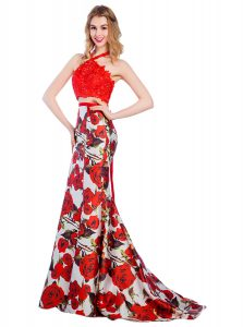 Mermaid Multi-color Zipper Halter Top Lace and Pattern Prom Dress Printed Sleeveless Brush Train