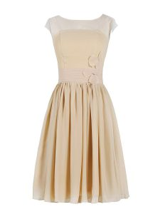 Scoop Champagne Chiffon Zipper Prom Gown Cap Sleeves Knee Length Appliques and Ruching