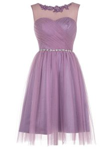 Unique Lavender Zipper Scoop Beading and Appliques Prom Evening Gown Tulle Sleeveless