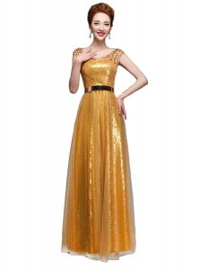 Scoop Cap Sleeves Sequined Floor Length Zipper Prom Gown in Gold with Beading and Sequins and Belt
