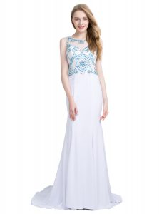 White Column/Sheath Chiffon Scoop Sleeveless Beading With Train Zipper Homecoming Dress Brush Train