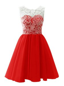 Fashionable A-line Evening Dress Red Scoop Chiffon Sleeveless Mini Length Clasp Handle