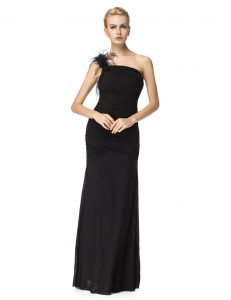 Customized One Shoulder Floor Length Zipper Prom Dress Black for Prom and Party with Ruching