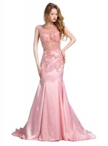Mermaid Scoop Sleeveless Brush Train Backless With Train Beading Dress for Prom