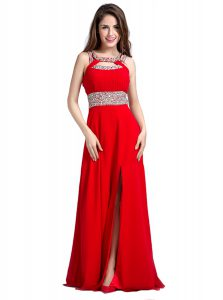 Red Empire Beading Prom Gown Zipper Silk Like Satin Sleeveless Floor Length
