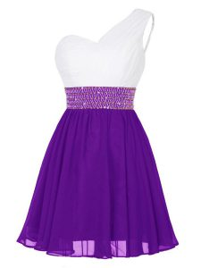 Graceful One Shoulder White And Purple Sleeveless Chiffon Zipper Prom Party Dress for Prom and Party
