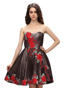 Fashionable Multi-color Sleeveless Silk Like Satin Zipper Homecoming Dress for Prom and Party