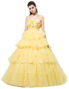 Yellow Lace Up Strapless Ruffled Layers and Hand Made Flower Prom Dress Organza Sleeveless