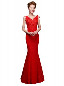 Smart Sleeveless Floor Length Lace Lace Up Homecoming Dress with Red