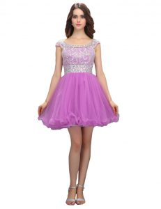 Edgy Lilac Prom Gown Prom and Party with Beading Square Cap Sleeves Zipper