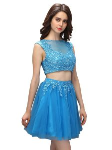 Dazzling Baby Blue Asymmetric Zipper Beading and Appliques Dress for Prom Sleeveless