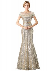 Artistic Mermaid Scoop Sleeveless Sequined Floor Length Zipper Prom Evening Gown in Champagne with Sequins